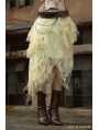 Ivory Steampunk Lace Layers Long Irregular Skirt