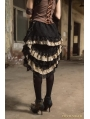Black Steampunk Lace Layers Irregular Skirt with Bag