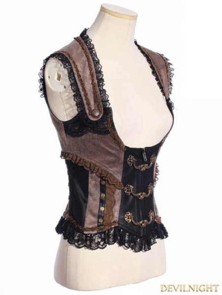 Black And Brown Steampunk Underbust Vest For Women