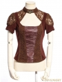 Brown Steampunk Lace Short Sleeves Shirt for Women