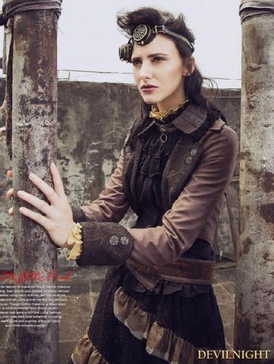 Brown Steampunk Vintage Short Jacket for Women