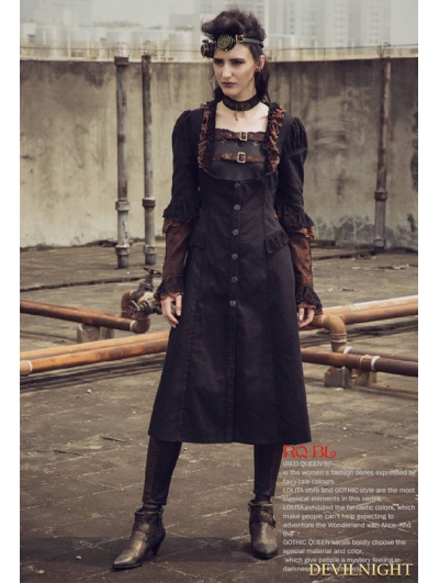 Black Steampunk Fashion Underbust Long Outfit For Women
