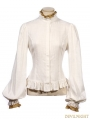 White Vintage Steampunk Shirt with Detachable Bowtie for Women