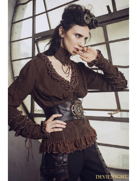 Brown Do Old Style Steampunk V Neck Blouses For Women