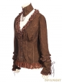 Brown Do Old Style Steampunk V-Neck Blouses for Women