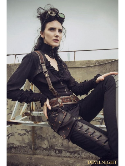 Black Do Old Style Steampunk V-neck Blouses for Women