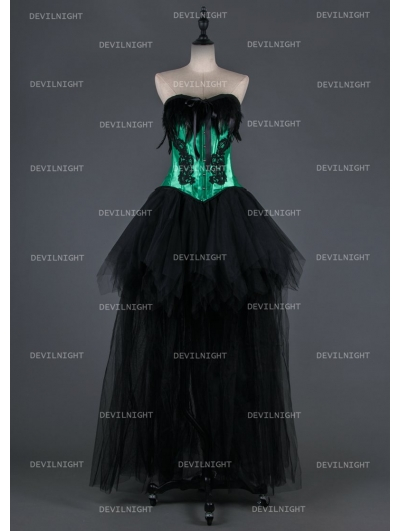Black and Green Gothic Burlesque Corset Hign-Low Prom Party Dress