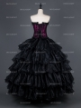 Romantic Black and Purple Gothic Corset Long Prom Party Dress
