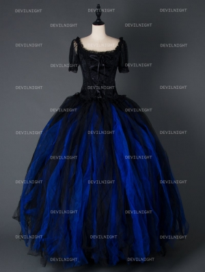 Black and Blue Short Sleeves Gothic Corset Long Prom Party Dress