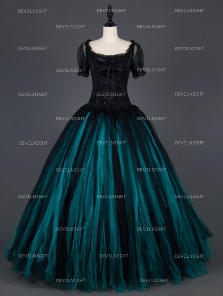 18d55e1bb5a Vintage Black and Tiffany Blue Short Sleeves Gothic Corset Long Prom Party  Dress ...