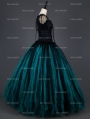 Vintage Black and Tiffany Blue Short Sleeves Gothic Corset Long Prom Party Dress