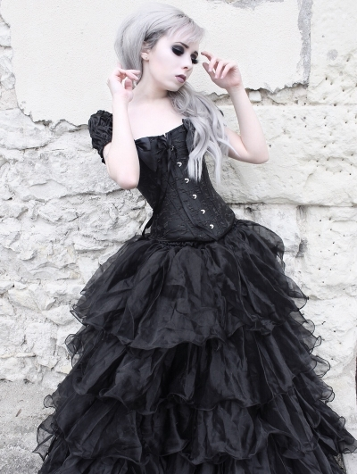 Black Cap Sleeves Gothic Corset Long Ball Prom Party Gown