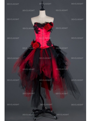Black and Red Gothic Burlesque Corset Irregular Prom Party Dress