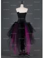 Black and Fuchsia Gothic Burlesque Corset Irregular Prom Party Dress