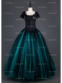 Black and Tiffany Blue Vintage Gothic Corset Long Prom Party Dress