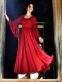 Summer Red Chiffon Trumpet Sleeves Medieval Inspired Dress