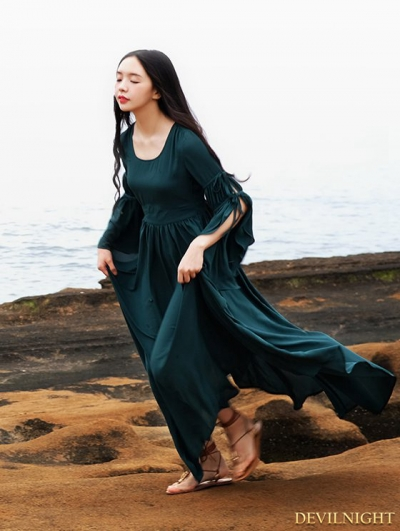 Summer Green Chiffon Trumpet Sleeves Medieval Inspired Dress