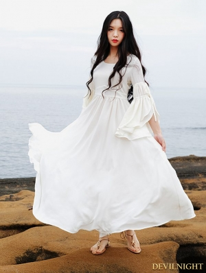 Summer White Chiffon Trumpet Sleeves Medieval Inspired Dress
