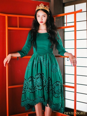 Green Floral Lace Palace Style Medieval Inspired Short Dress