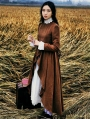 Brown Long Sleeves Vintage Medieval Dress