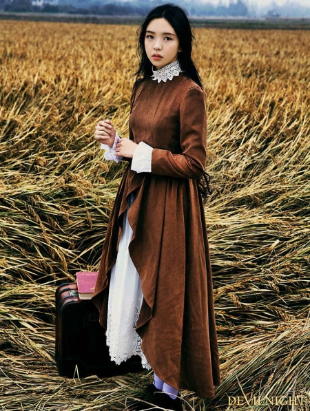 Brown Long Sleeves Vintage Medieval Dress Devilnight Co Uk