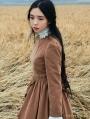 Brown Long Sleeves Vintage Medieval Dress