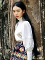 White Puff Sleeves Vintage Medieval Blouse for Women