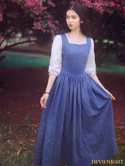 White and Blue Vintage Medieval Inspired Dress