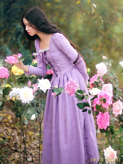 Elegant Purple Lace-Up Long Sleeves Medieval Inspired Dress