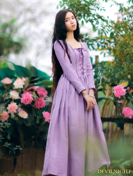 Elegant Purple Lace Up Long Sleeves Medieval Inspired