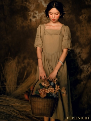 Vintage Linen Short Sleeves Medieval Dress