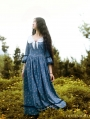 Vintage Blue Floral Pattern Medieval Inspired Dress