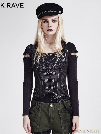 Black Stripe Gothic Military Uniform Vest for Women