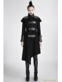 Green Gothic Asymmetric Woolen Military Jacket for Women