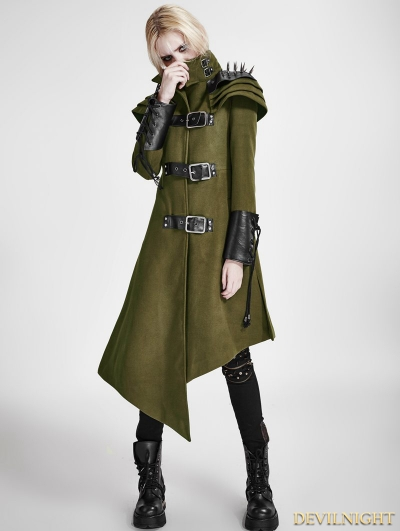Black Gothic Asymmetric Woolen Military Jacket for Women