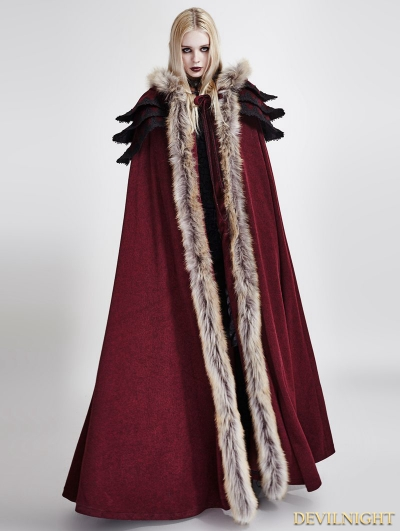 Red Gothic Wool Collar Long Cloak for Women