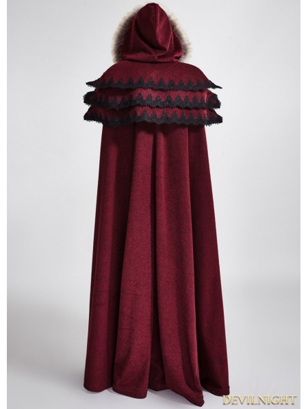 Red Gothic Wool Collar Long Cloak For Women Devilnight Co Uk