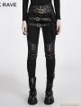 Black Steampunk PU Leather Stitching Trousers for Women