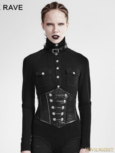 Black Gothic Military Uniform Girdle
