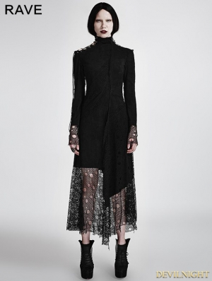 Black Gothic Asymmetric Punk Mesh Stitching Dress