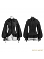 Black Gothic Palace Style Chiffon Blouse for Women