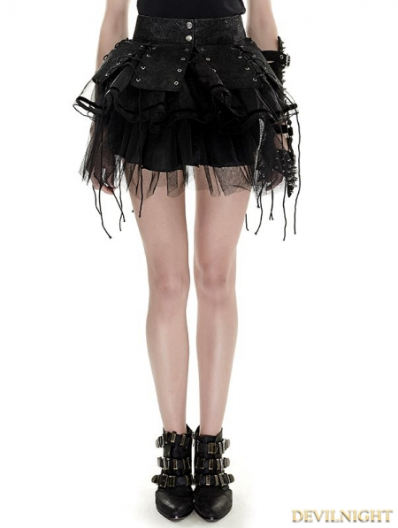 Black Gothic Bandage Two Piece Punk Spiky Skirt