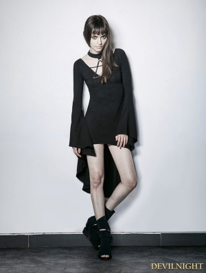 Black Gothic Irregular Short Sexy Dress