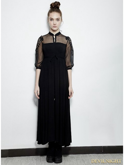 Black Vintage Gothic Palace Style Long Dress