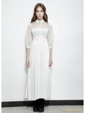 White Vintage Gothic Palace Style Long Dress