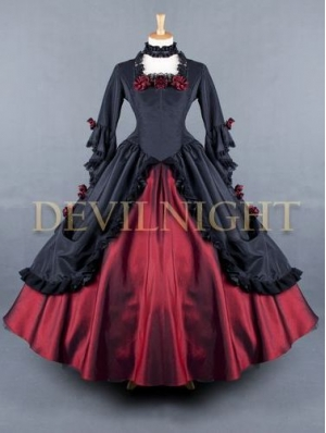 Red and Black Floral Long Sleeves Gothic Ball Gowns