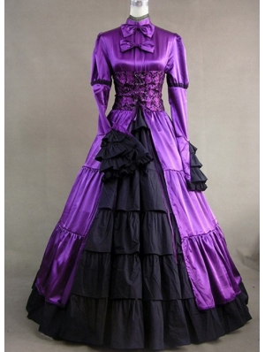 Purple and Black Masquerade Gothic Ball Gowns
