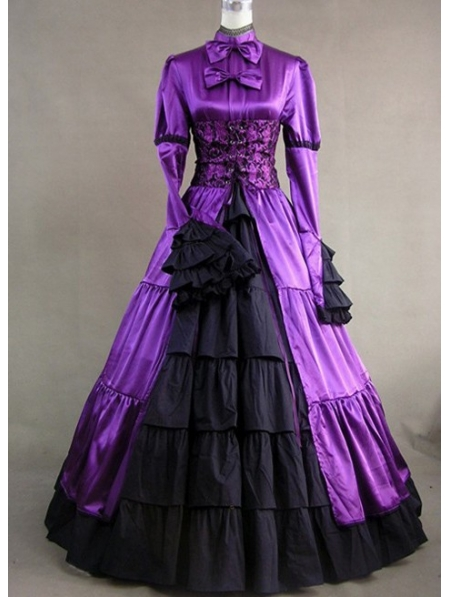 Purple And Black Masquerade Gothic Ball Gowns Devilnightcouk