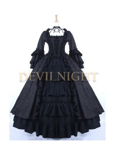 Black Gothic Antoinette Style Victorian Ball Gowns - Devilnight.co.uk