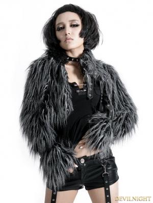 Gothic Punk Long-Furry Ultra-Short Jacket for Women